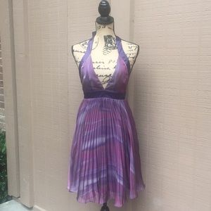 Sz 0 Purple BCBG Accordion Halter Dress